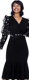 Terramina 7928 - Flounce Hem Dress With Surplice Neckline And Mesh Upper Puff Sleeve Design