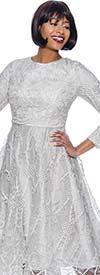 Terramina 7929-Pearl - Womens A-line Dress In Soutache Style Trim Design
