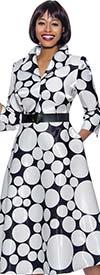 Terramina 7930-Black - Polka Dot Print Wing Collar A-Line Dress