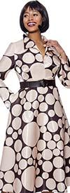 Terramina 7930-Brown - Polka Dot Print Wing Collar A-Line Dress