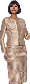Terramina 7933-Champagne - Lace Trimmed Womens Three Piece Skirt Suit