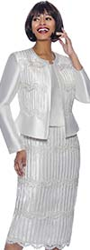 Terramina 7933-Ivory - Lace Trimmed Womens Three Piece Skirt Suit