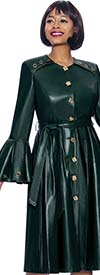 Terramina 7934-Green - Grommet Detailed Faux Leather Dress With Bell Flounce Sleeves And Belt