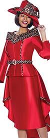 Terramina 7935 - Womens Church Suit With Animal Print Trim And Waist Cape