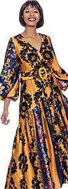Terramina 7937 -  Floral Print Design V-Neck Dress With Balloon Sleeves & Belt