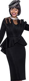 Terramina 7938-Black - Peplum Waist Dress With Illusion Yoke And Embellished Neckline
