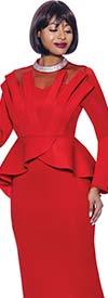 Terramina 7938-Red - Peplum Waist Dress With Illusion Yoke And Embellished Neckline