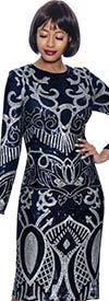 Terramina 7942-Navy - Long Sleeve Womens Dress With Sequin Pattern Design