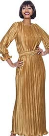Terramina 7944-Copper - Womens Pleated Maxi Dress With Ruffle Cuff Long Sleeves And Belt