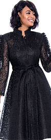 Terramina 7770 Womens Pleated Lace Dress With Stand Up Collar And Ruffle Sleeve Detail