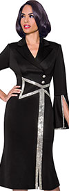 Terramina 7798 Flared Womens Church Dress With Split Flounce Cuffs And Embellished Bow Detail