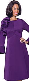 Terramina 7799 Womens Church Dress With Bell Cuffs And Shoulder Ruffle Detail