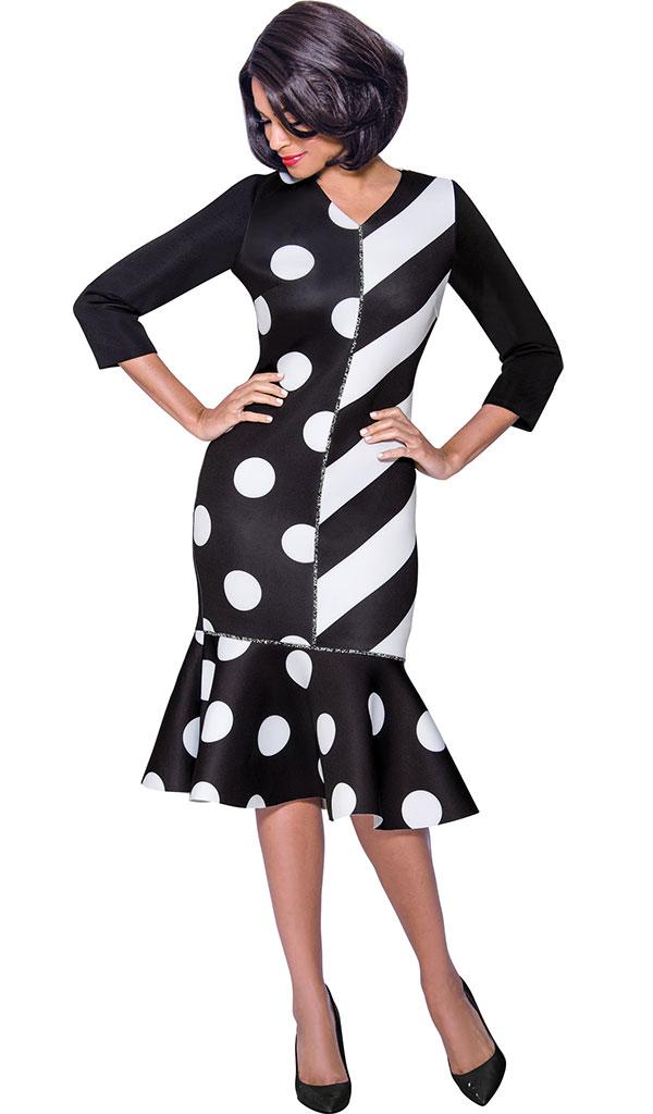 Terramina 7801 Flounce Hem Vee Neckline Dress With Polka Dot And Stripe Print Design