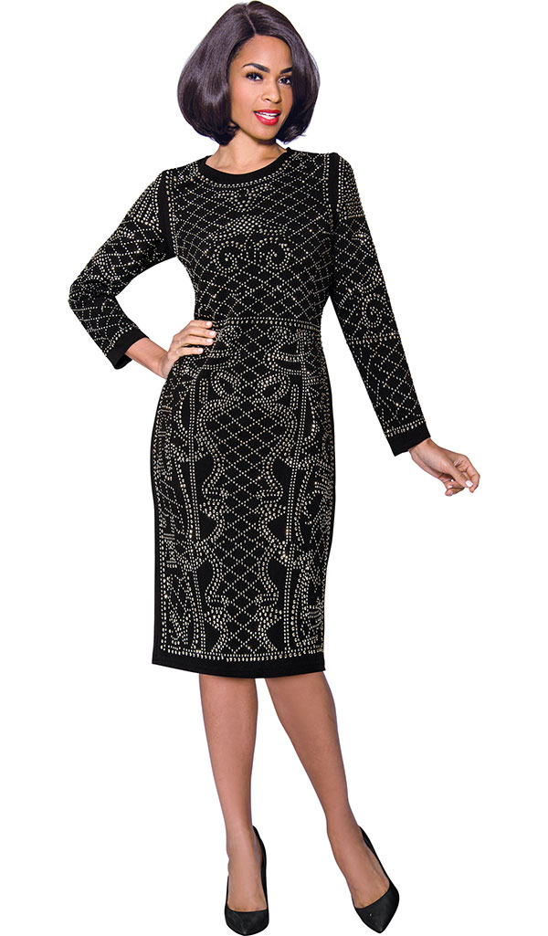 Terramina 7803 Ladies Sheath Dress With Elaborate Rhinestone Detail Design
