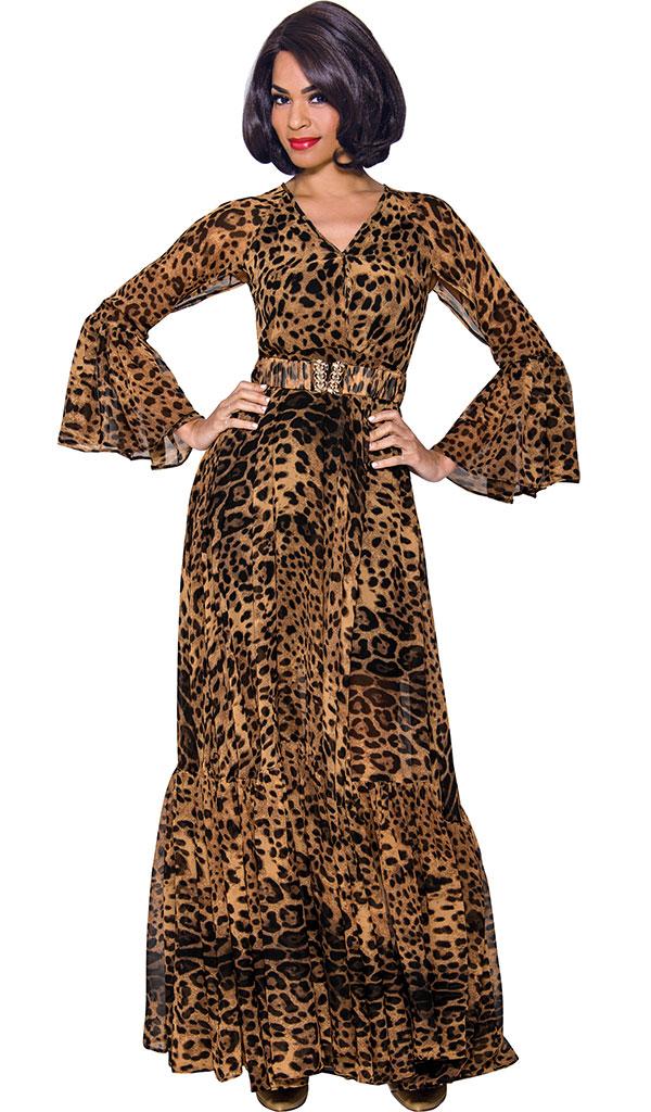 Terramina 7806 Vee Neckline Pleated Flounce Dress In Leopard Print With Belt