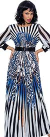 Terramina 7852-Blue Print - Womens Animal Print Striped Dress With Belted Waist And Banded Cuff Sleeves