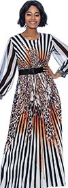 Terramina 7852-Gold Print - Womens Animal Print Striped Dress With Belted Waist And Banded Cuff Sleeves