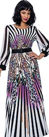 Terramina 7852-Purple Print - Womens Animal Print Striped Dress With Belted Waist And Banded Cuff Sleeves
