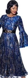 Terramina 7949 Womens Pleated Mesh Print Design Bell Sleeve Dress