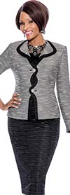 Terramina 7482 - Ladies Skirt Suit With Criss Cross Style Jacket