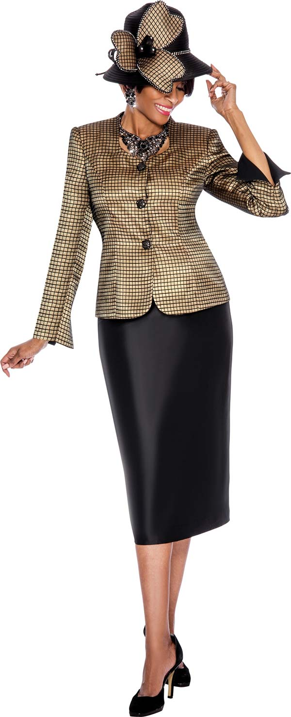 Terramina 7488 - Womens Skirt Suit With Grid Pattern Design Jacket