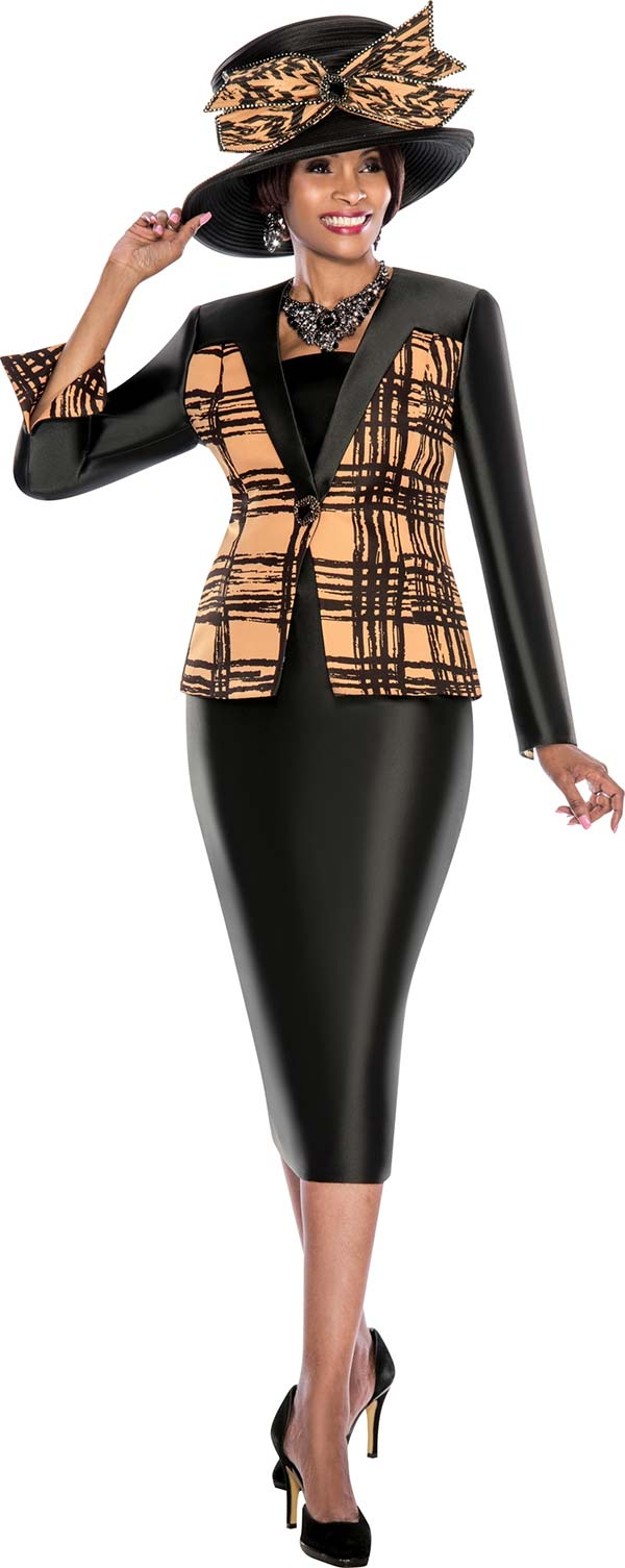 Terramina 7493 - Two Piece Womens Church Suit With Brushstroke Print Design Jacket