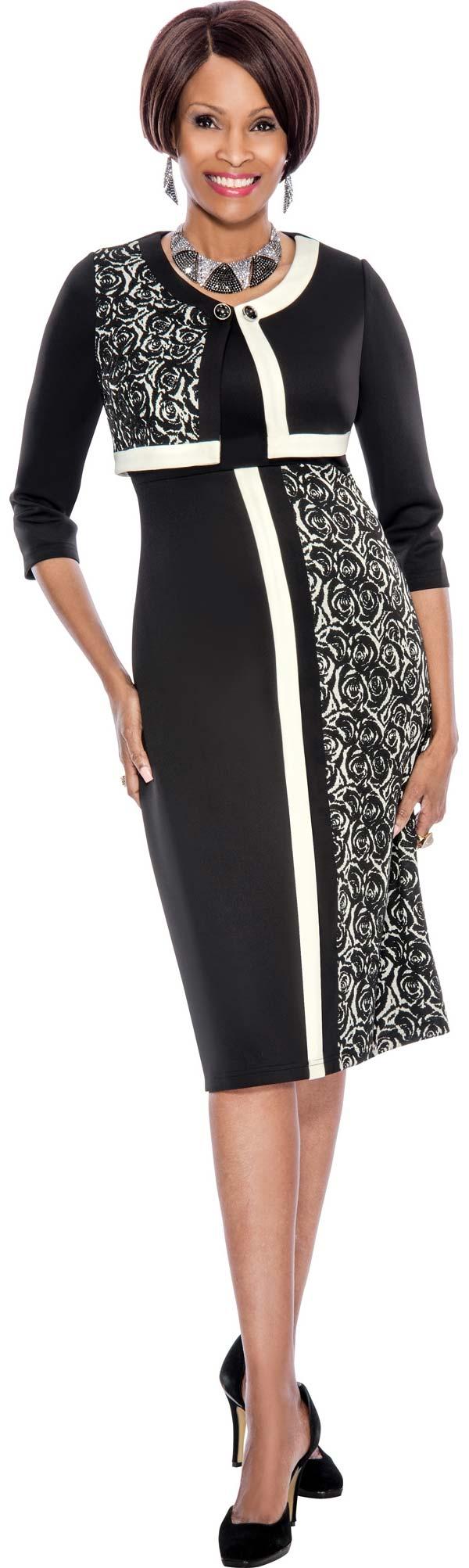Terramina 7502 - Church Dress With Floral Print Pattern Block Design