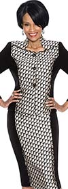 Terramina 7513 - Two Piece Skirt Suit In Print Pattern Design With Stand-Up Collar Jacket
