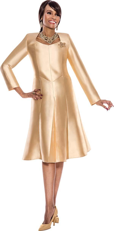 Terramina 7518-Gold - Pleated Panel Dress With Hexagon Neckline