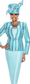 Terramina 7520 - Two Piece Womens Church Suit With Semicircle Pattern Print Design