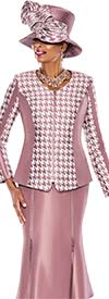 Terramina 7526-Mauve - Womens Church Suit With Houndstooth Print Jacket And Zipper Detail Skirt