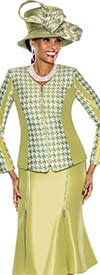 Terramina 7526-Pistachio - Womens Church Suit With Houndstooth Print Jacket And Zipper Detail Skirt
