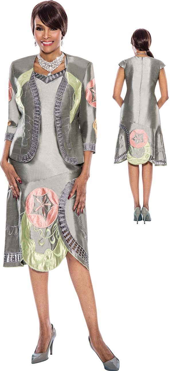 Terramina 7527 - Two Piece Womens Capsleeve Dress & Jacket Set With Embroidered Design