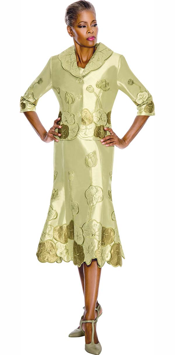 Terramina 7528-Kiwi - Embroidered Skirt Suit With Floral Design