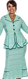 Terramina 7535 - Two Piece Pleated Skirt Suit With Peplum Flounce Cuff Jacket In Textured Fabric