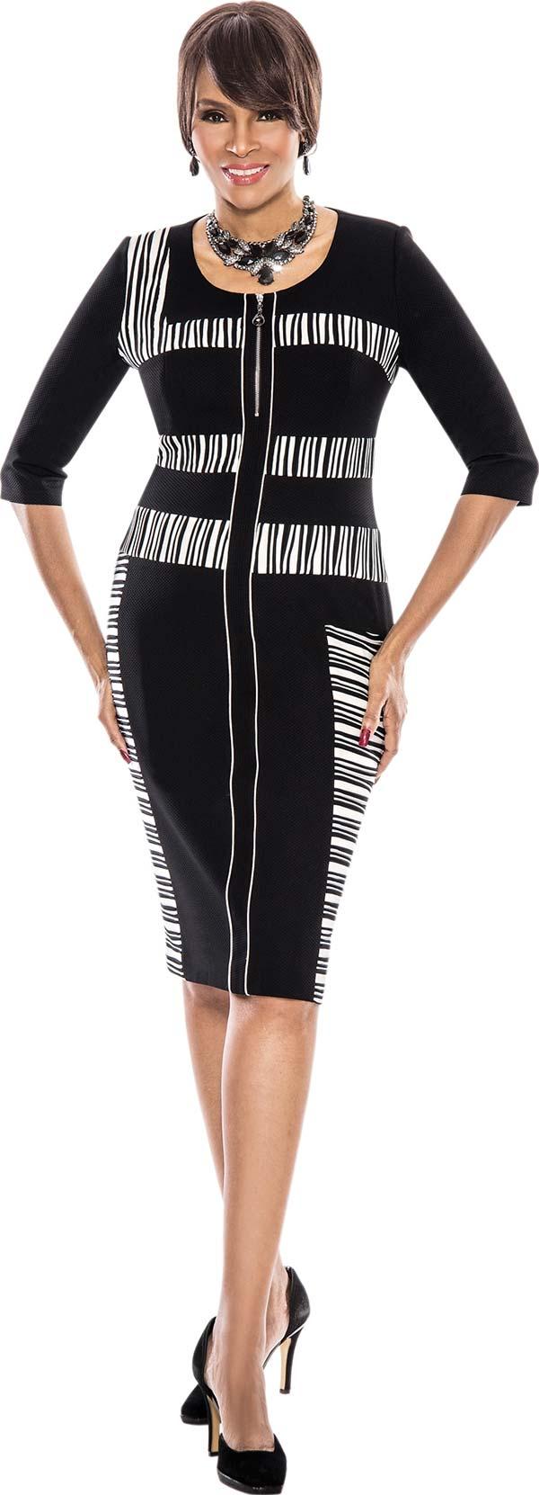 Terramina 7536-Black - Three Quarter Sleeve Ladies Dress With Striped Inset Design