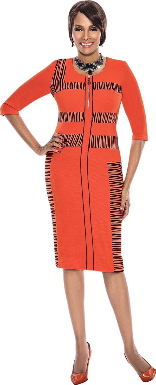 Terramina 7536-Orange - Three Quarter Sleeve Ladies Dress With Striped Inset Design