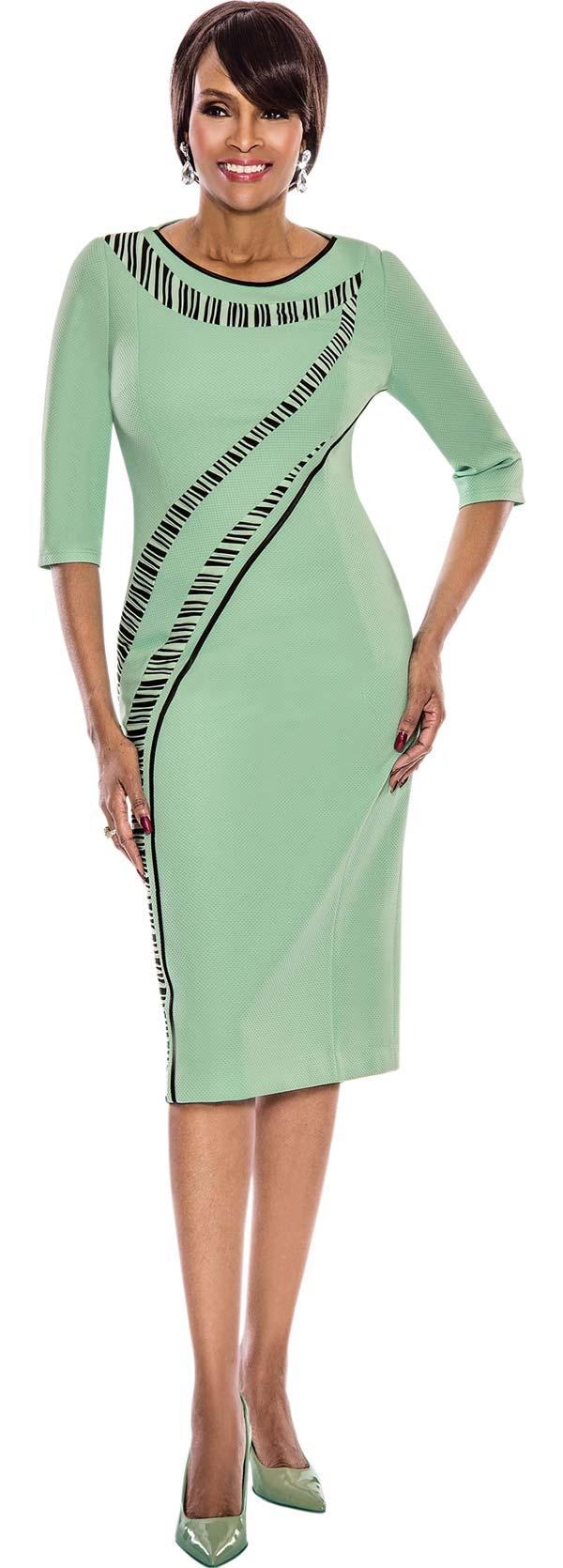 Terramina 7538-Mint - Ladies Threee Quarter Sleeve Sheath Dress With Stripe Detailing