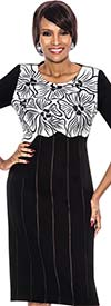 Terramina 7540 - Floral Print Design Womens Three Quarter Sleeve Dress