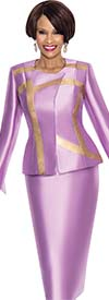 Terramina 7556 - Gold Brushstroke Print Design Two Piece Church Suit With Jewel Neckline