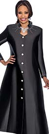 Terramina 7565-Black - Rhinestone Embellished Womens Church Robe