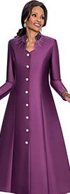 Terramina 7565-Plum - Rhinestone Embellished Womens Church Robe
