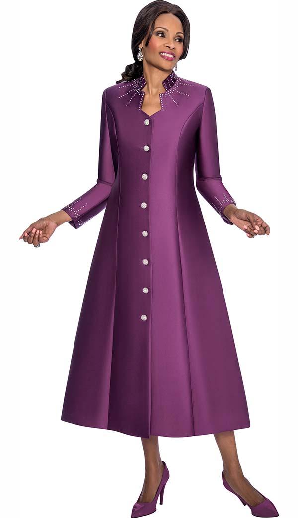 Terramina 7565-Plum - Rhinestone Embellished Womens Church Robe