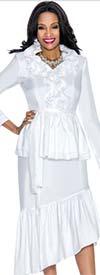 Terramina 7609 - Ruffle Trim Ladies Tilted Hemline Dress With Sash