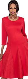 Terramina 7619 Godet Pleated Dress With Jewel Neckline