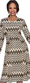 Terramina 7623 Jewel Neckline Dress With Chevron Pattern