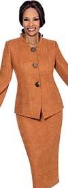 Terramina 7624 Suede Look Skirt Suit With Flared Sleeve Nehru Collar Jacket