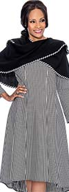 Terramina 7625 Striped Dress With Multifunctional Shawl