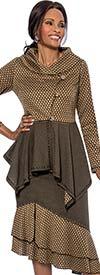 Terramina 7630 Womens Multi Layered Skirt Suit With Portrait Collar