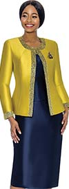 Terramina 7637-Citron - Womens Church Suit With Embellished Trim On Jacket